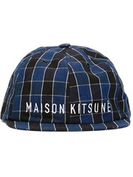 Maison Kitsune Small Visor Checked Cap Blue