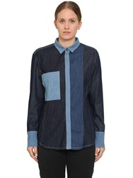 Marina Rinaldi Baccheo Patchwork Cotton Denim Shirt Blue