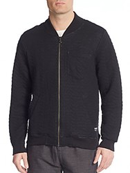 Ezekiel Brandon Quilted Fleece Bomber Jacket Black