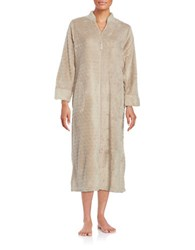 Miss Elaine Textured Zip Front Robe Brown