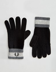 Fred Perry Tipped Gloves In Lambswool Black