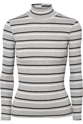 Frame Striped Ribbed Knit Turtleneck Sweater Gray