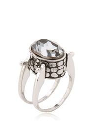 Mia D'arco Ring With Swarovski Crystal Silver Blue