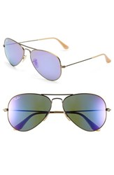 Women's Ray Ban 'Original Aviator' 58Mm Sunglasses Bronze Grey Mirror Purple