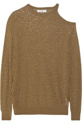 Sandro Sepia Cutout Pointelle Knit Sweater Light Brown