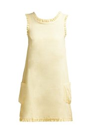 Loup Charmant Gidget Ruffle Trimmed Cotton Mini Dress Light Yellow