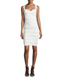 Nicole Miller Artelier Sleeveless Sweetheart Crinkled Dress White