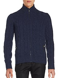 Corneliani Wool Knit Long Sleeve Zip Cardigan Dark Blue
