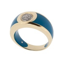 Andre Benitah Creations Paris 280Resin Gold And Diamond Circle Ring Blue