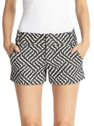 Alice Olivia Cady Woven Geometric Patterned Shorts Black Cream