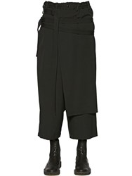 Yohji Yamamoto Paneled And Belted Wool Gabardine Pants