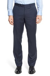 Nordstrom Men's Big And Tall Men's Shop Flat Front Solid Wool Trousers Navy