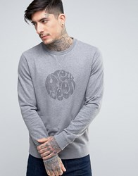 Pretty Green Heyland Crew Sweat Logo Print Slim Fit In Mid Grey Mid Grey