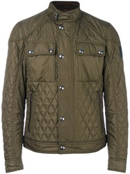 Belstaff Band Collar Quilted Jacket Men Cotton Polyester 54 Green