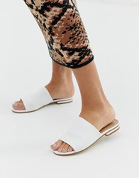 Aldo Leather Mule Sandals White