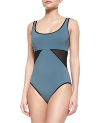 Karla Colletto Scoop Neck Underwire Swimsuit With Geo Panels Nickel Black