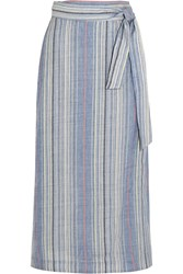 Zimmermann Marisole Striped Wool And Linen Blend Skirt Blue