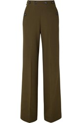 Roland Mouret Palmetto Button Detailed Wool Crepe Wide Leg Pants Army Green