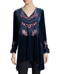 Johnny Was Laura Embroidered Velvet Tunic Black