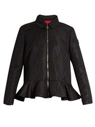 Moncler Gamme Rouge Peplum Zip Through Faille Jacket Black