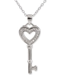 Giani Bernini Cubic Zirconia Heart Key Pendant Necklace In Sterling Silver Only At Macy's