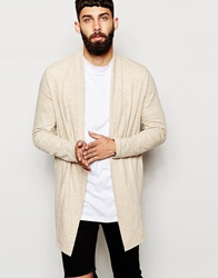 Asos Super Longline Cardigan In Jersey With Shawl Neck Cream