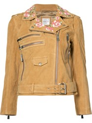Anine Bing Embroidered Biker Jacket Women Viscose Goat Suede S Nude Neutrals