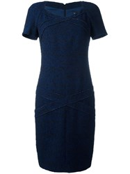 Chanel Vintage Fitted Panel Dress Blue