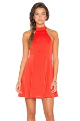 Lucca Couture Washed Satin Mock Neck Fit N Flare Dress Red