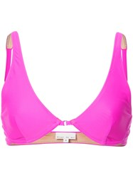 Fleur Du Mal Front Closure Plunge Bikini Top Pink And Purple