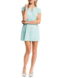 Cynthia Steffe Piper Short Sleeve Box Pleated Dress Frozen Aqua