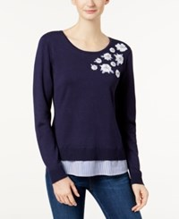 Charter Club Applique Layered Look Sweater Created For Macy's Intrepid Blue