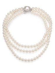 Majorica 8Mm White Pearl And Sterling Silver Triple Strand Necklace