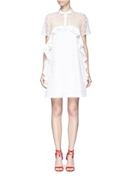 Giamba Floral Embroidered Mesh Panel Poplin Shirt Dress White