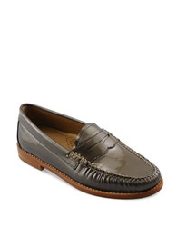 G.H. Bass Whitney Patent Leather Penny Loafers Grey