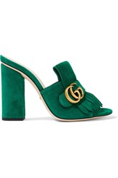 Gucci Marmont Fringed Suede Mules Bright Green