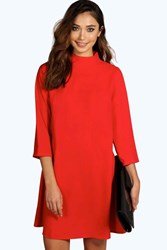 Boohoo High Neck 3 4 Sleeve Shift Dress Red