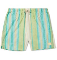 Acne Studios Perry Mid Length Striped Swim Shorts Green