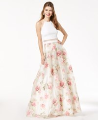 B. Darlin B Juniors' Printed Illusion Gown Created For Macy's Ivory Floral