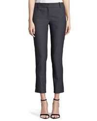 Theory Classic Straight Leg Cropped Denim Trousers Blue