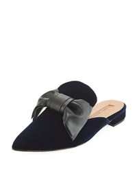 Andre Assous Prince Velvet Mule With Bow Navy