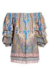 Kas 'S New York Requena Peasant Blouse Pasiley Print