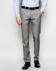 Ben Sherman Plain Wool Blend Suit Trousers Grey