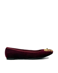Park Lane Embroidered Velvet Ballet Shoes Burgundy