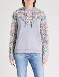 Needle And Thread Lazy Daisy Cotton Jersey Hoody Washed Blue
