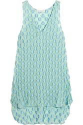 Chloe Fil Coupe Silk Blend Tunic Turquoise