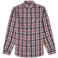 Rrl Farell Checked Flannel Overshirt Blue