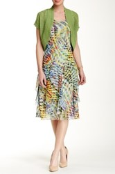 Robbie Bee Abstract Print Tiered Ruffle Dress And Cardigan Multi