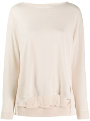Zucca Side Slit Knitted Top Neutrals