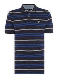 Howick Men's Bedford Stripe Short Sleeve Polo Blue